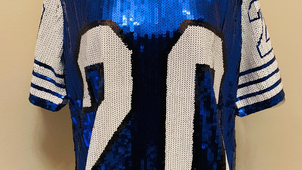 20 Blue & White Sequins Top