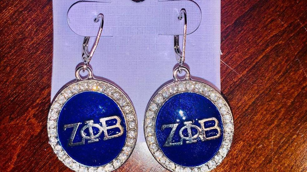 Zeta Phi Beta Sorority, Inc. (Round Bling Earrings-Blue)