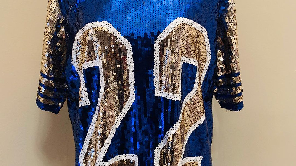 22 Blue & Gold Sequins Top