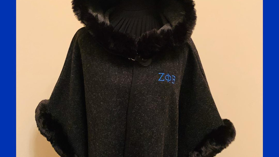 Black Faux Fur Hooded Cape with Gray Speckles