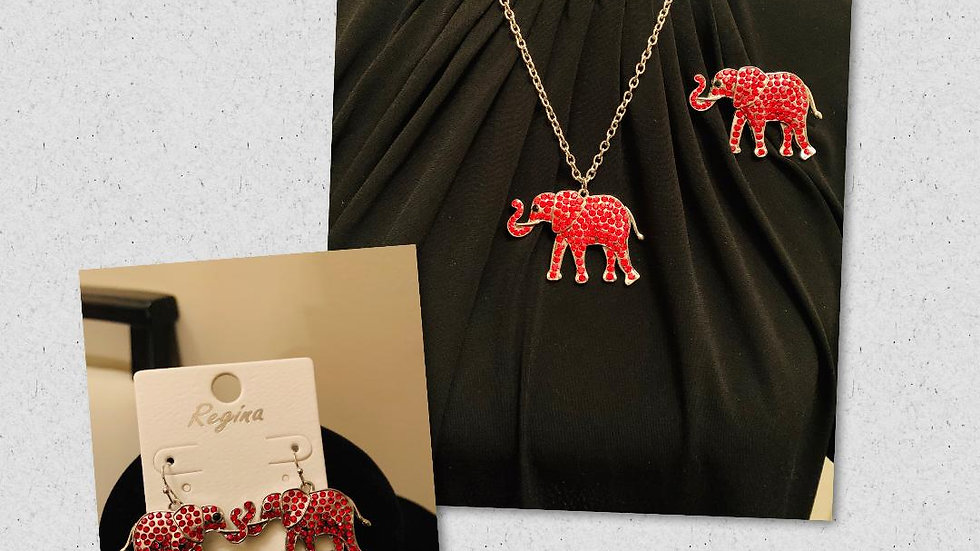 Elephant Necklace Set w/Earrings & Pin (Red Bling)