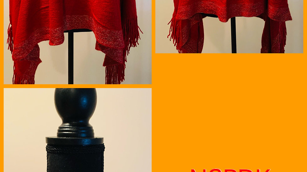 NSPDK Red Poncho w/Gold Greek Letters