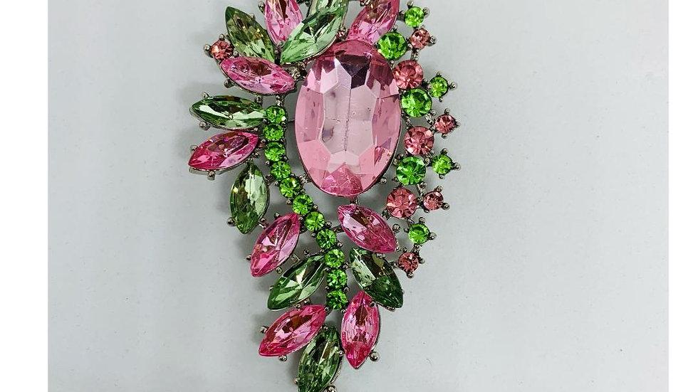 Pink & Green Bling Brooch
