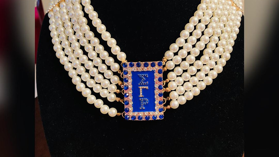 Sigma Gamma Rho Bling Greek Letter Pearl Necklace