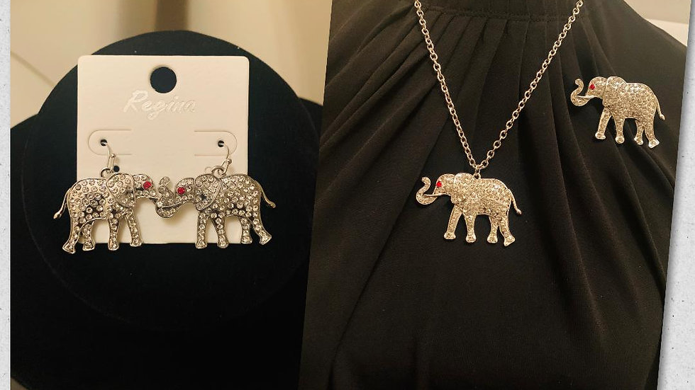 Elephant Necklace Set w/Matching Earrings & Pin (Bling)