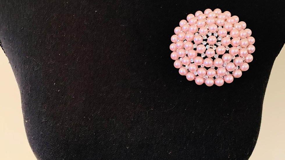 Pink & Pearl Brooch