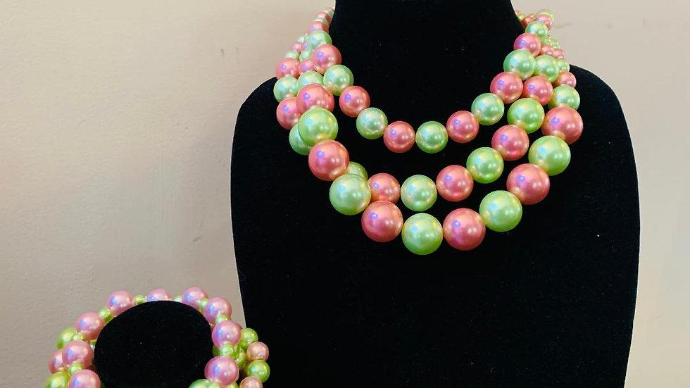 Pink & Green Pearls Set
