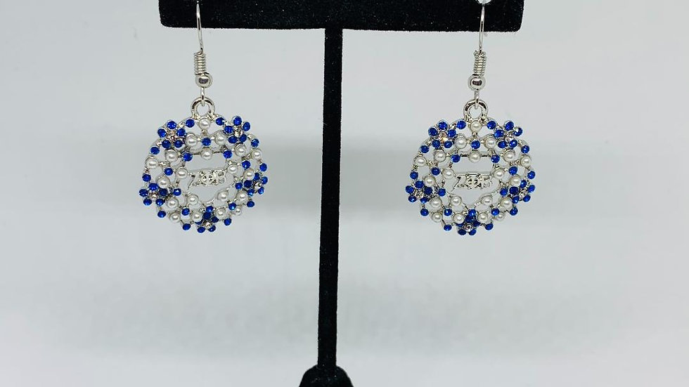 Zeta Phi Beta Blue Bling & Pearl Earrings (S)