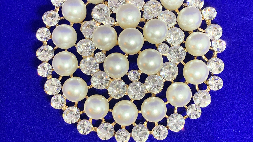 Miss Universe Gold Pearls & Bling Brooch