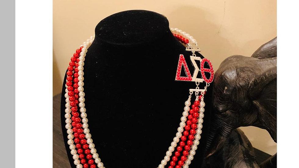 DST Greek Letter R&W Pearl Necklace
