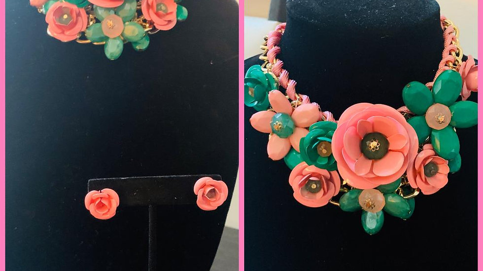 Pink & Green Rose Necklace