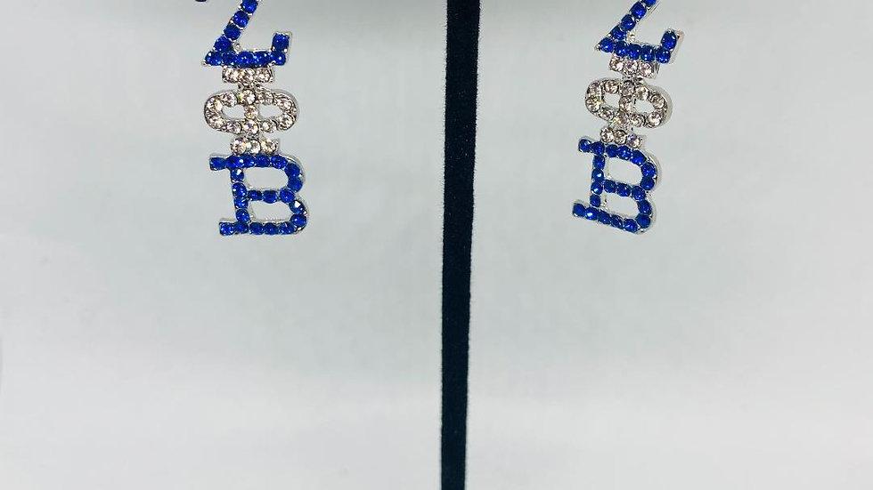 Zeta Phi Beta Hanging Bling Greek Letter Earrings