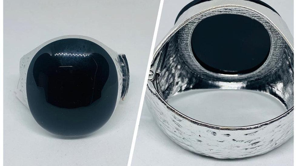 Black Stone Silver Bangle (R)