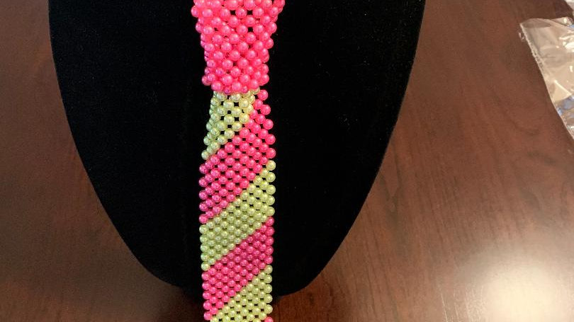 Pink & Green Necktie Necklace