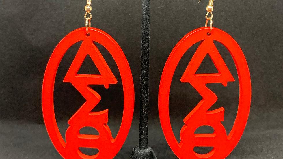 DST Greek Letter Red Wooden earrings (Oval)