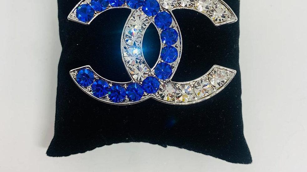 Blue & Bling Chanel Inspired Brooch