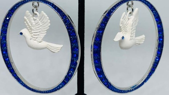 Dove & Blue Bling Earrings