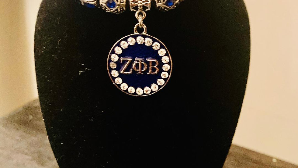 Zeta Phi Beta Sorority, Inc. (Round Charm Bracelet-Blue)