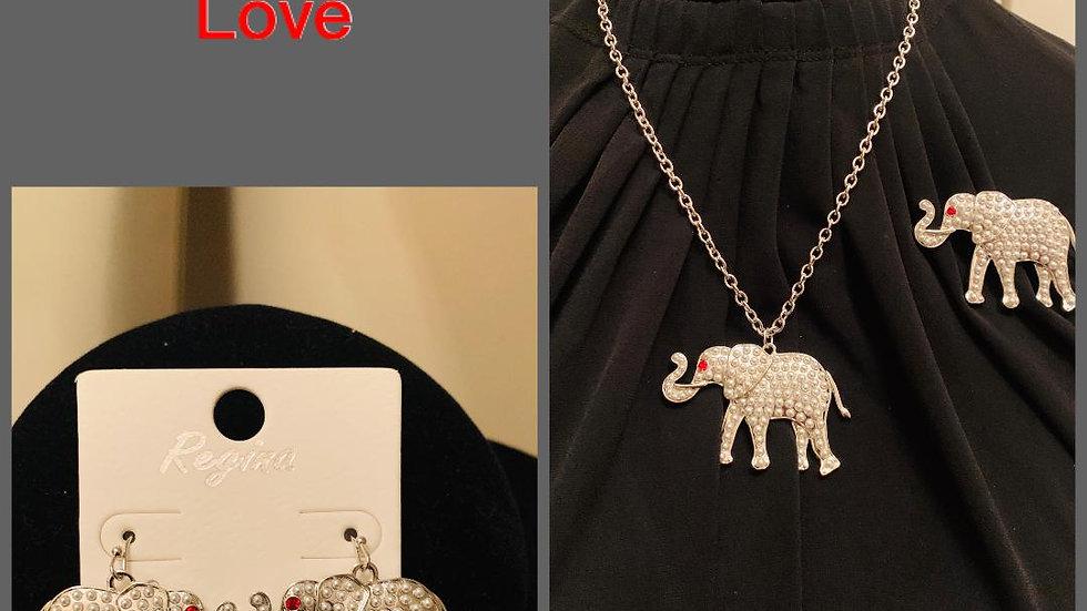 Elephant Necklace Set w/ Earrings & Pin (Pearls)