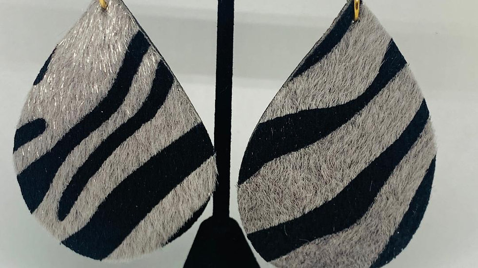Zebra Print Gray & Black Earrings