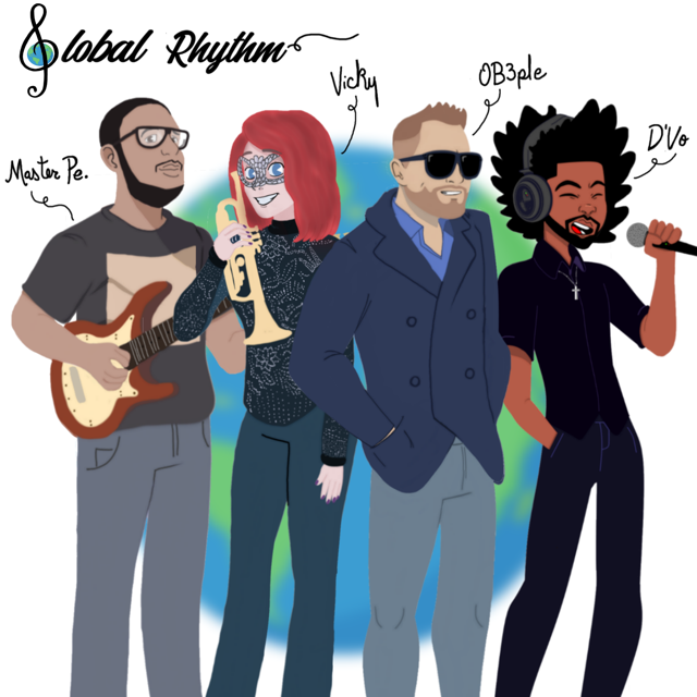 Have you met the band? We are Global Rhythm. From left to right: Master Pe (guitarist from Brazil), Vicky Flint (trumpettess from U.K.) OB3ple is our bass player from Sweden, and that's me, D'Vo, the lead singer.