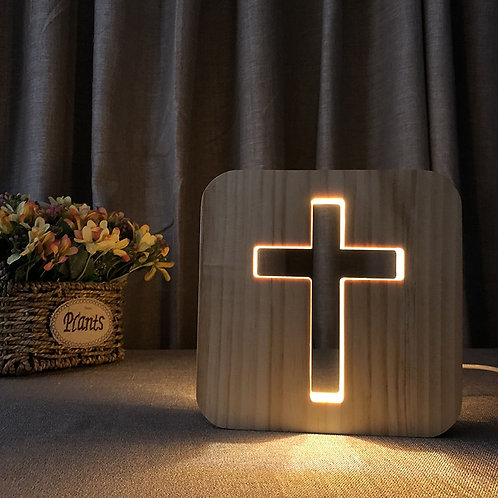USB 3D Glow Wood Christian Wall Crosses