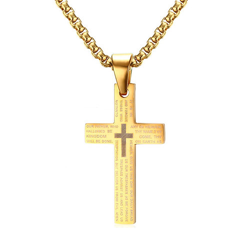 Men's Stainless Steel Lord's Prayer Cross Necklace