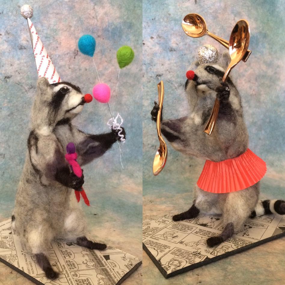 Raccoon Juggling Spoons, Raccoon Balloon Vendor