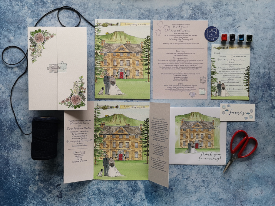 Watercolour art with wedding venue and the happy couple stationery set painted by Pigment + Paper