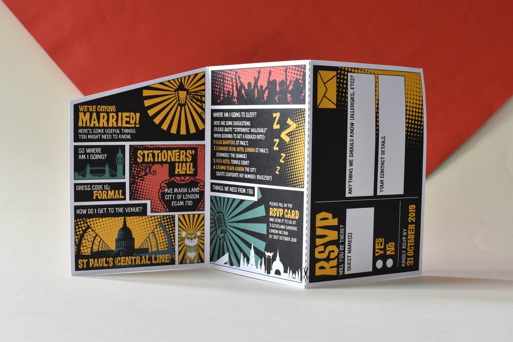 Pop art crossed with graphic novel strip wedding invite by Origami Fox
