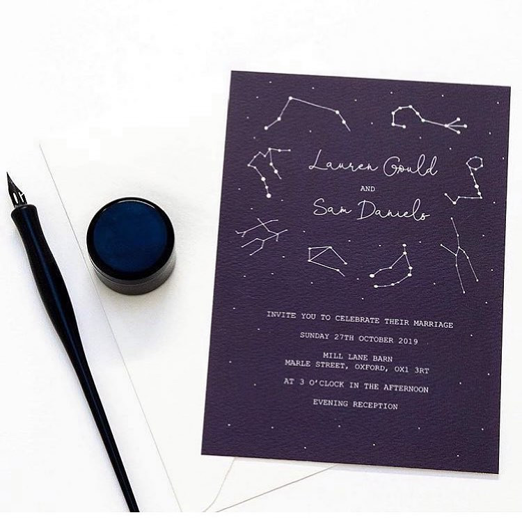 Constellation inspired navy blue wedding invitation by Flourish and Flora Co.