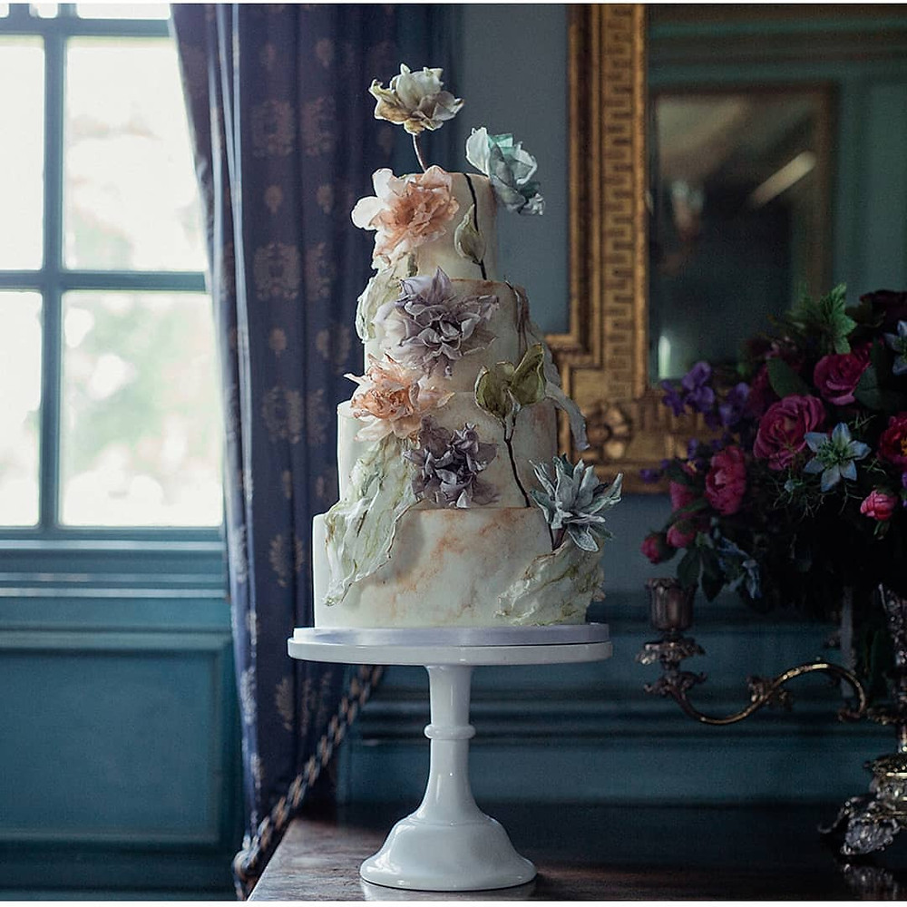 Pastelle toned tiwered wedding cake with sugar paper details by Cherry Tree Cakerie