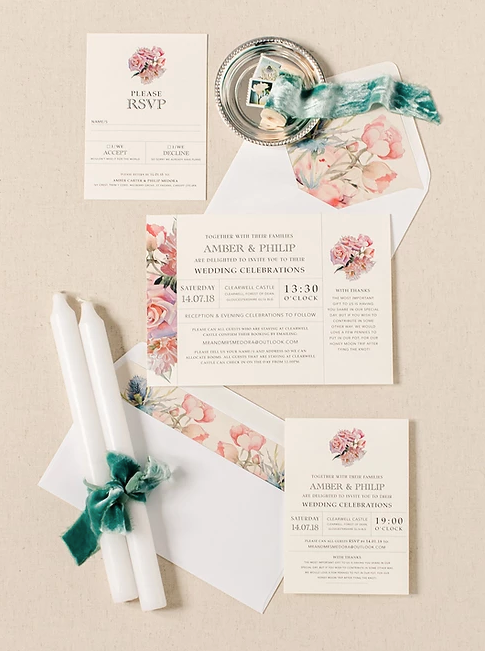 Floral inpired wedding stationery including pink roses by Paper Date Wedding Stationery