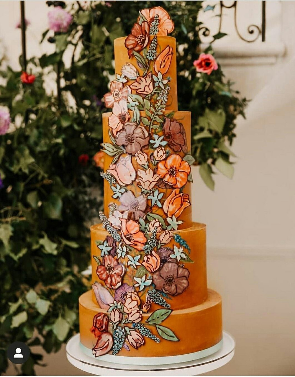 Tiered chocolated cake with chocolate painted flowers by Chocolate Utopia Oxfordshire