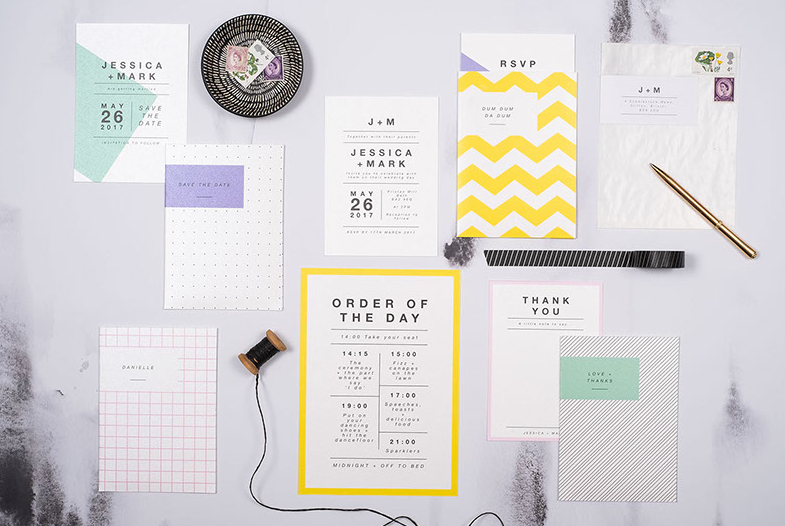 Chevron and geometric inspired wedding stationery suite by Reinhold + Hazel Creative