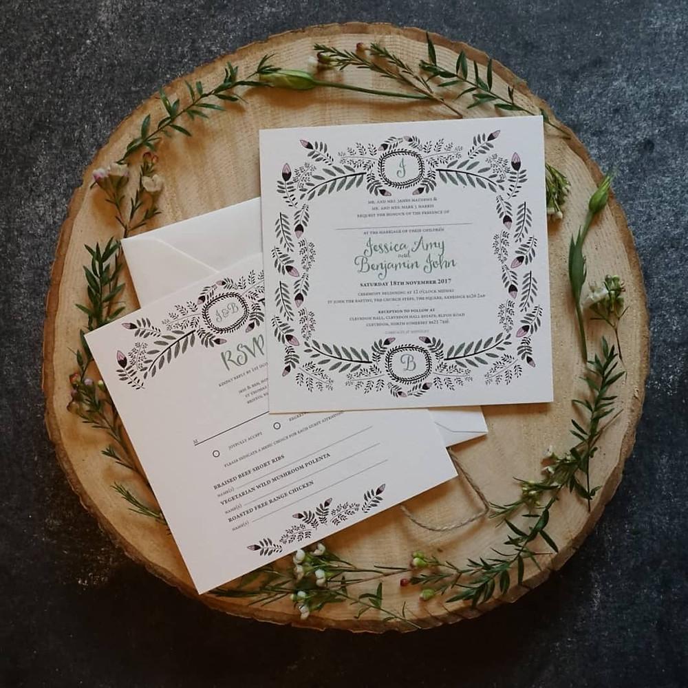 Natural foliage inspired stationery by Zara Jayne Lee Wedding Stationery Designer