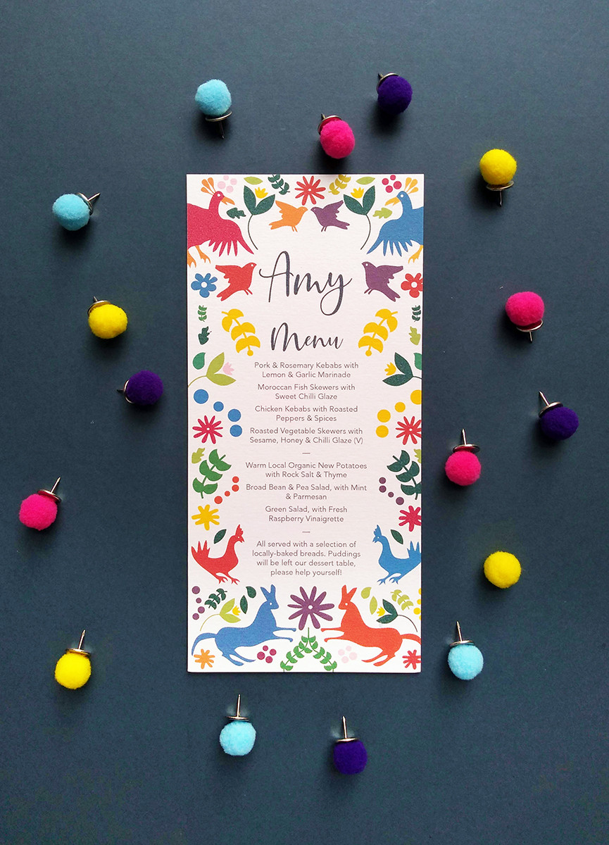 Colour pop wedding invite featuring graphic birds and flora by From Sally with Love