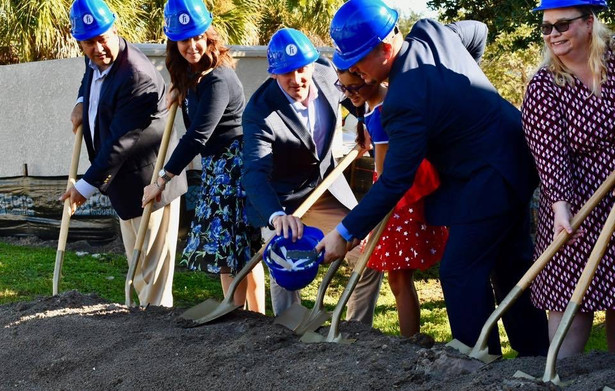 Rep. Ray Rodrigues, Sen. Lizbeth Benacquisto and Rep. Dane Eagle, help Family Initiative break ground on the new Southwest Florida Autism Support Center.