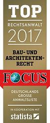 FOCUS-Magazin 2017 hat RA Prof. H.Henning Irmler als TOP-Anwalt im Bau- und Architektenrecht ausgezeichnet