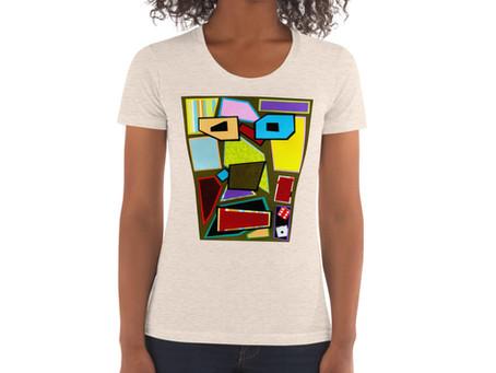 Essentials Women's Classic Fit Lightweight Scattered Mess Crew Neck T-shirt