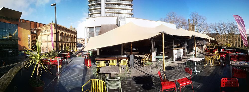 Stretch tent roof terrace cover