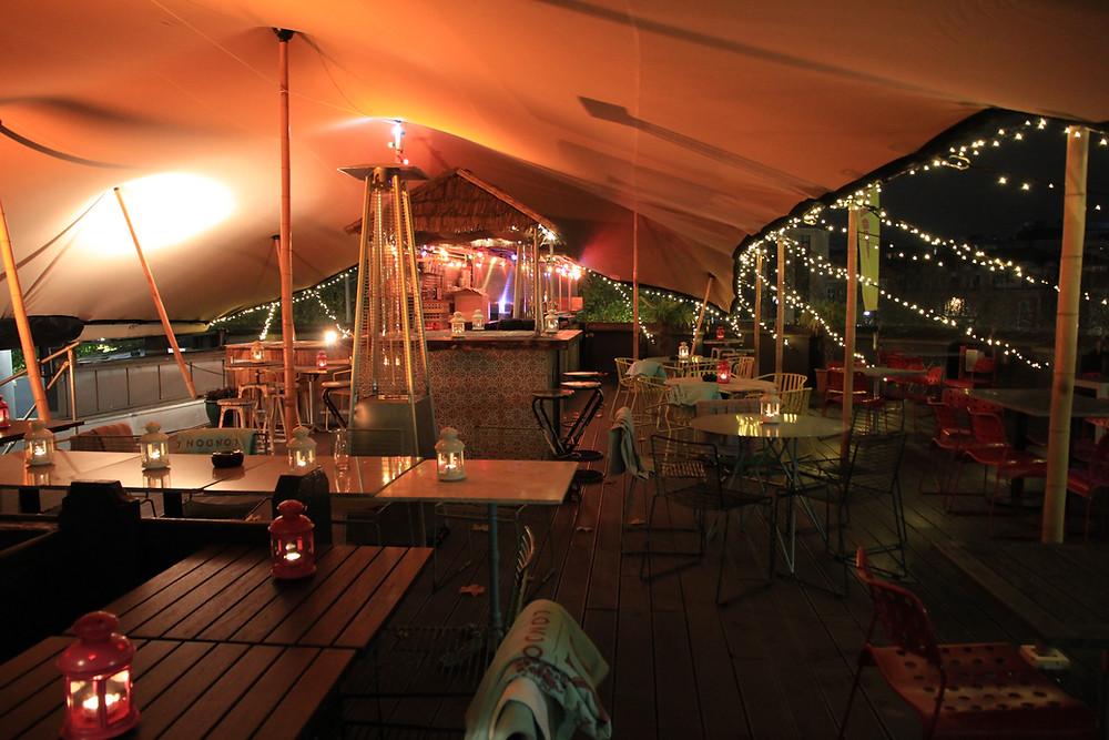 Stretch tent interior night