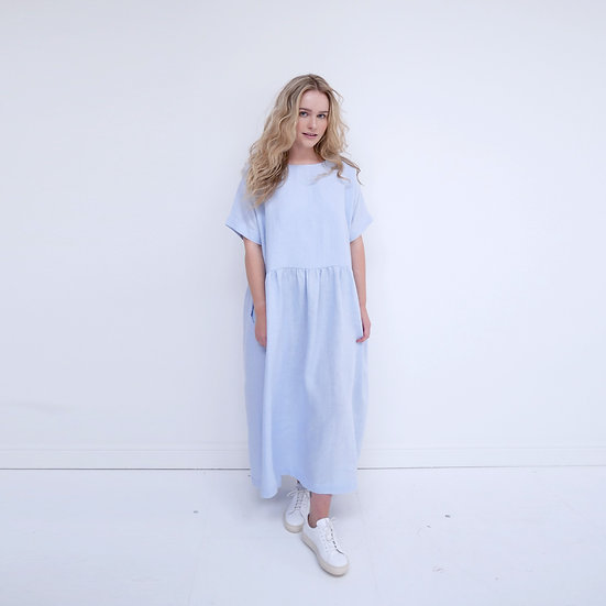 The Gathered Dress - Bluebell (Ready to Dispatch)