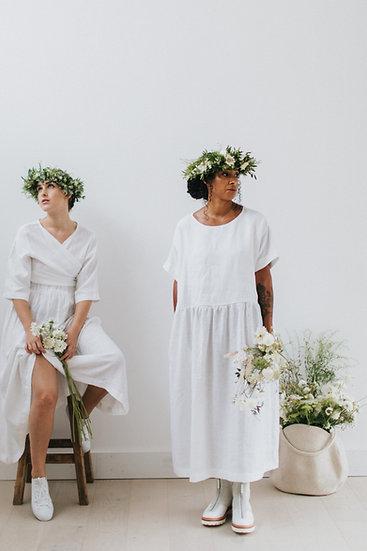 The Gathered Dress - White