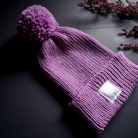 Wool Bobble Hat - Lupin