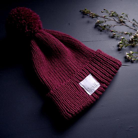 Wool Bobble Hat - Claret