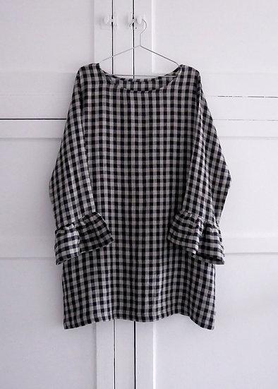The Flutter Dress - Black & Natural Check