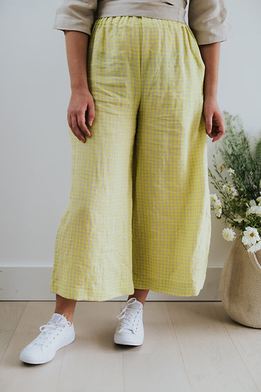 The Wide Trousers - Fluoro Citrus Check (Ready to Dispatch)