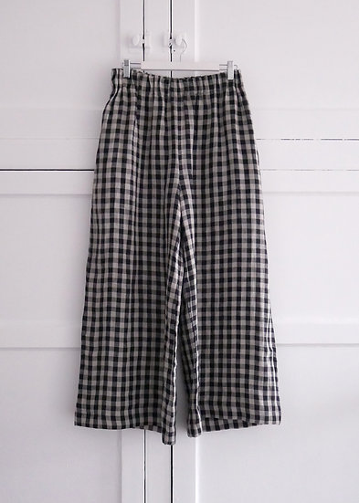 The Wide Trousers - Black & Natural Check