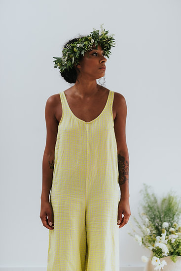 The Wide Jumpsuit - Fluoro Citrus Check (Ready to Dispatch)